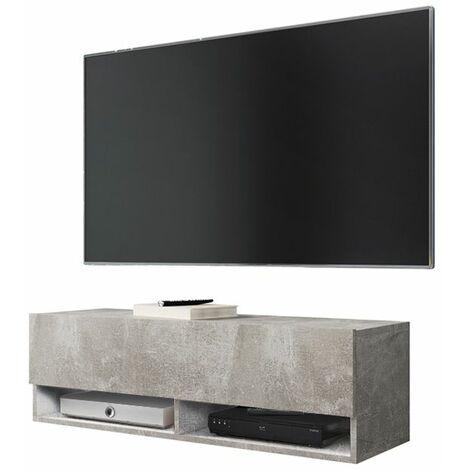 Selsey WANDER - Meuble tv / Banc tv (béton, 100 cm, sans LED)