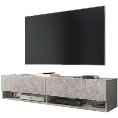 Selsey WANDER - Meuble tv / Banc tv (béton, 140 cm, sans LED)
