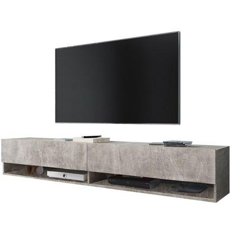 Selsey WANDER - Meuble tv / Banc tv (béton, 180 cm, sans LED)