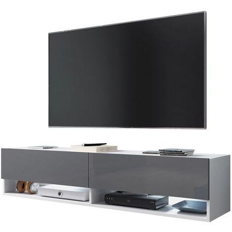 Selsey WANDER - Meuble tv / Banc tv (blanc mat / gris brillant, 140 cm, éclairage LED)