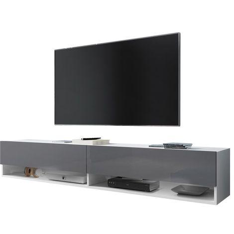 Selsey WANDER - Meuble tv / Banc tv (blanc mat / gris brillant, 180 cm, sans LED)