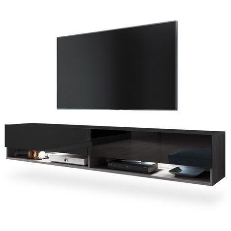 Selsey WANDER - Meuble tv / Banc tv (bodega / noir brillant, 180 cm, éclairage LED)