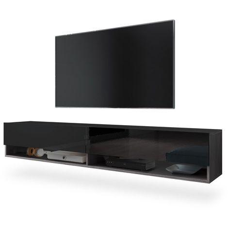 Selsey WANDER - Meuble tv / Banc tv (bodega / noir brillant, 180 cm, sans LED)