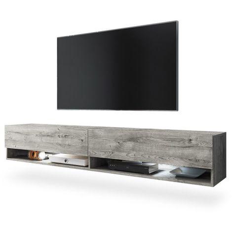 Selsey WANDER - Meuble tv / Banc tv (chêne gris, 180 cm, éclairage LED)