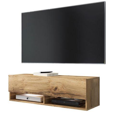 Selsey WANDER - Meuble tv / Banc tv (chêne wotan, 100 cm, éclairage LED)