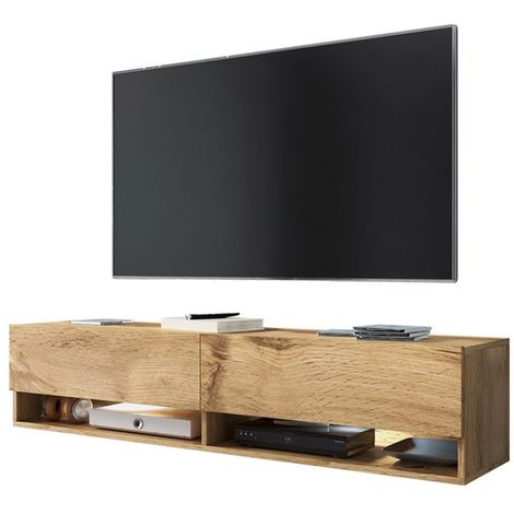 Selsey WANDER - Meuble tv / Banc tv (chêne wotan, 140 cm, éclairage LED)