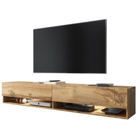 Selsey WANDER - Meuble tv / Banc tv (chêne wotan, 180 cm, éclairage LED)