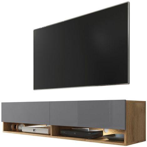 Selsey WANDER - Meuble tv / Banc tv (chêne wotan / gris brillant, 140 cm, éclairage LED)