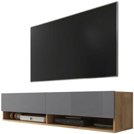 Selsey WANDER - Meuble tv / Banc tv (chêne wotan / gris brillant, 140 cm, sans LED)