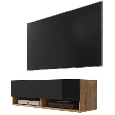 Selsey WANDER - Meuble tv / Banc tv (chêne wotan / noir brillant, 100 cm, sans LED)