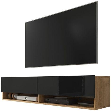 Selsey WANDER - Meuble tv / Banc tv (chêne wotan / noir brillant, 140 cm, sans LED)