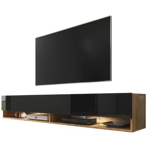 Selsey WANDER - Meuble tv / Banc tv (chêne wotan / noir brillant, 180 cm, éclairage LED)