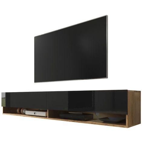 Selsey WANDER - Meuble tv / Banc tv (chêne wotan / noir brillant, 180 cm, sans LED)
