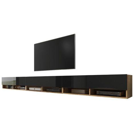 Selsey WANDER - Meuble tv / Banc tv (chêne wotan / noir brillant, 3x100 cm, sans LED)