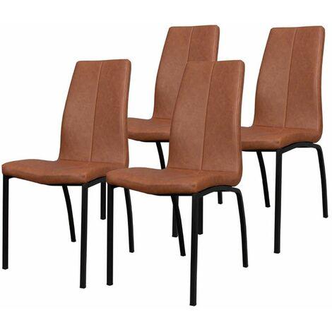 Selsey ZAGORAC - Lot de 4 chaises salle à manger - brun - pratique - confortable