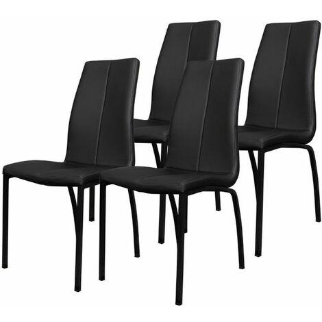 Selsey ZAGORAC - Lot de 4 chaises salle à manger - noir - pratique - confortable