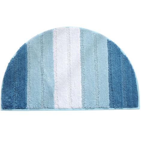 Semi-circular doormat, soft absorbent bathroom mat, non-slip semi-circle doormat, entry door mat, carpeted floor mat, indoor and outdoor shower mat (light blue gradient)