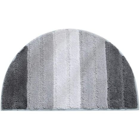 Semi-circular doormat, soft absorbent bathroom mat, non-slip semi-circle doormat, entryway mat, carpeted floor mat, indoor and outdoor shower mat (light gray gradient)