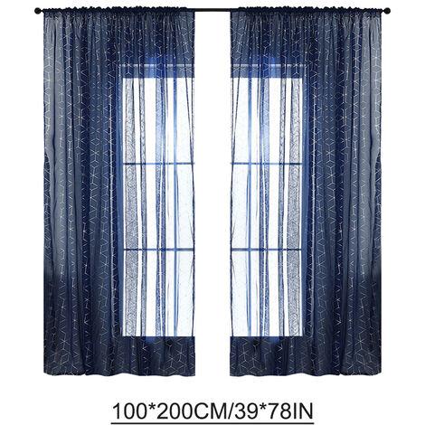 """Semi-cortinas Cortinas Persianas Para Polo Salon / set casa de 2 paneles (39 """"W x 78"""" L, Azul oscuro)"""