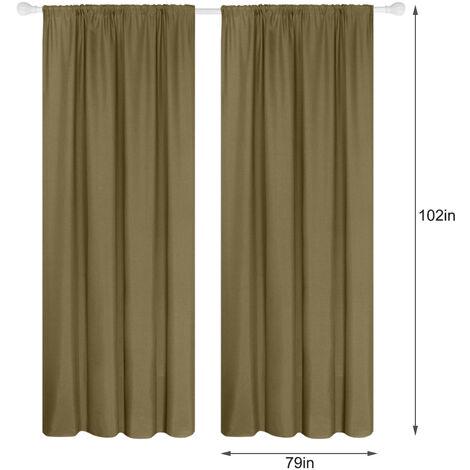 Semi cortinas opacas 2 moderno panel cortinas de la sala de oscurecimiento aislada termal Diseno Ventana Ojal, 79 * 102in, cafe