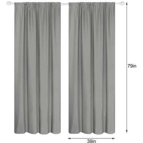 Semi cortinas opacas cortinas 2 Panel moderna Sala de oscurecimiento de diseno termico Ventana De Isole Ojal habitaciones Para estar (39 * 79In), gris