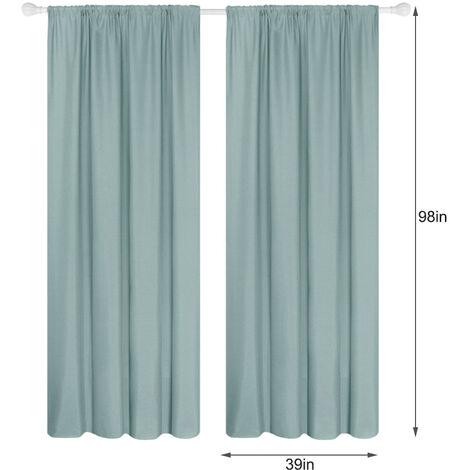 Semi cortinas opacas cortinas 2 Panel moderna Sala de oscurecimiento de diseno termico Ventana De Isole Ojal habitaciones Para estar (39 * 98In), verde claro