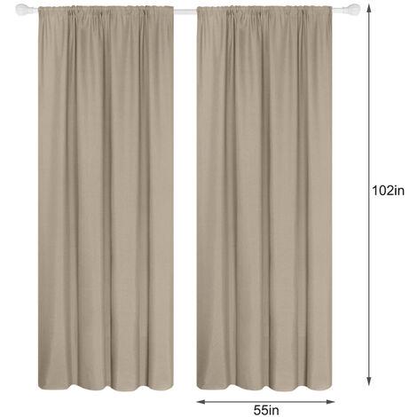 Semi cortinas opacas cortinas 2 Panel moderna Sala de oscurecimiento de diseno termico Ventana De Isole Ojal habitaciones Para estar (55 * 102In), Camel