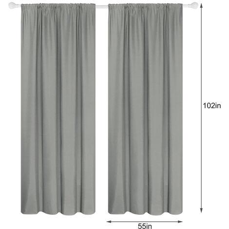 Semi cortinas opacas cortinas 2 Panel moderna Sala de oscurecimiento de diseno termico Ventana De Isole Ojal habitaciones Para estar (55 * 102In), gris