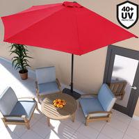 Semi-Round Garden Sun Parasol Deuba Half Patio Wall Umbrella Shade 3m UV Protection with Crank Handle – Colour Choice Cream Anthracite Red