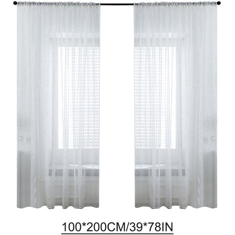 Semi-Sheer barra de la cortina de bolsillo para cortinas Persianas Salon / set casa de 2 paneles (39 '' W x 78 'L, Blanco)