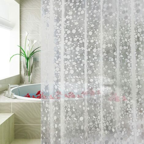 Semi Waterproof and Mildew Proof EVA Shower Curtain, PVC Free, with 3 Bottom Magnets and 12 Curtain Rings 180 x 180 cm (Transparent)