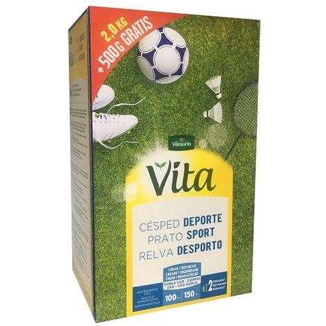Semillas de Césped DEPORTE VITA con 100% Ray-Grass Inglés de 3 variedades, Fácil Mantenimiento - Caja 2,5 kg