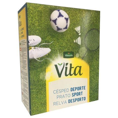 Semillas de Césped DEPORTE VITA con 100% Ray-Grass Inglés de 3 variedades, Fácil Mantenimiento - Caja 400 gr