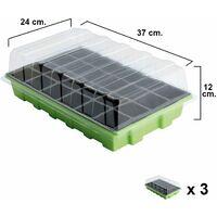 Semillero Germinación Invernadero 24 Compartimentos Con Bandeja Anti Goteo Sets De 3 Piezas
