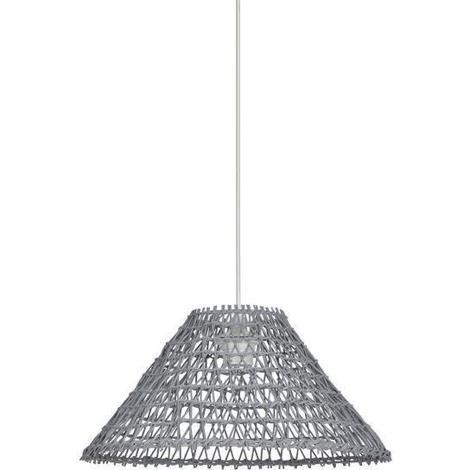 SEMPAI Lustre - suspension conique en rotin tressé 38x19 cm E27 100W gris Generique