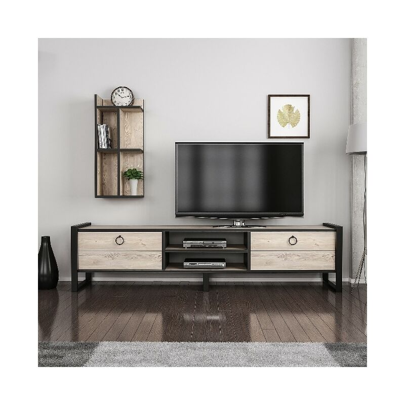 Homemania - Sena TV-Schrank - Modern mit Buecherschrank - mit Tueren, Regalen, Einlegeboeden - vom Wohnzimmer - Holz, Schwarz aus Holz, Metall, 184 x