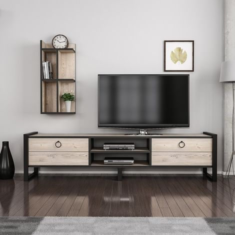 Sena TV Stand - with Bookcase, Doors, Shelves - for Living Room - Black, made in Wood, Metal 184 x 39 x 45 cm