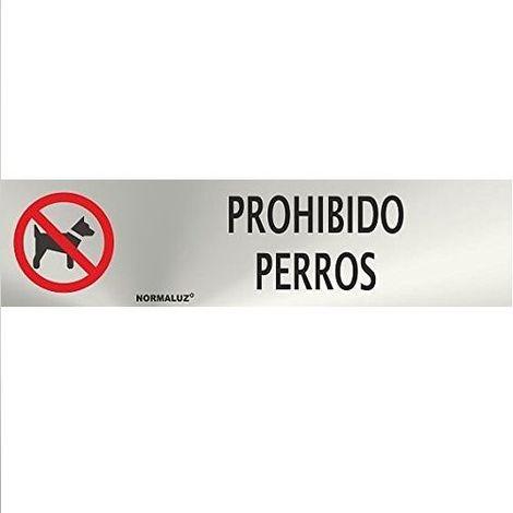 Señal Adhesiva prohibido perros Acero inoxidable 5x20 cm Gris