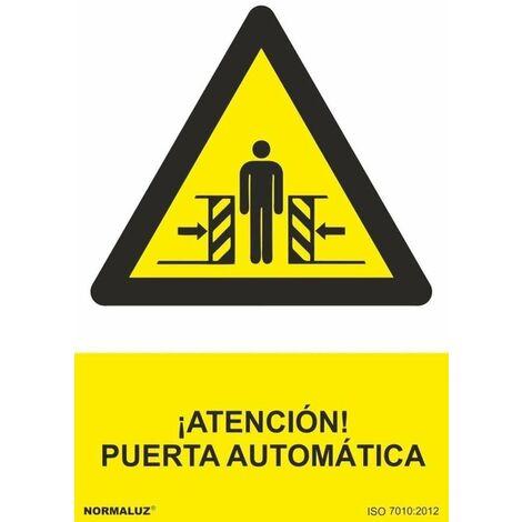 Señal ¡Atención! Puerta Automática Con Tintas UV
