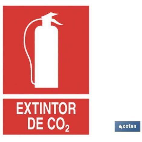 Señal de socorro pictorama y texto - Extintor de CO2