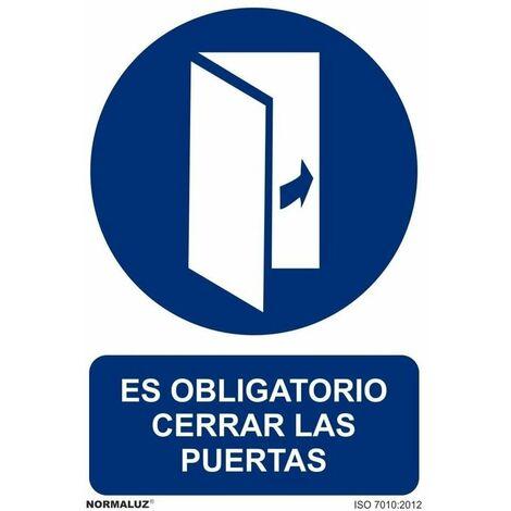 Señal Es Obligatorio Cerrar Las Puertas Con Tintas UV