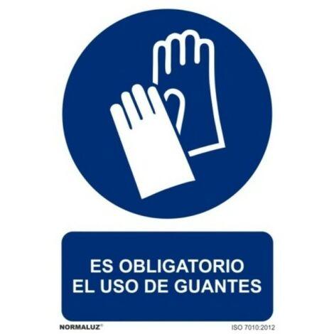 Señal Es Obligatorio El Uso de Guantes Con Tintas UV