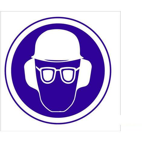Señal obligación solo pictorama - Obligatorio casco, gafas y orejeras