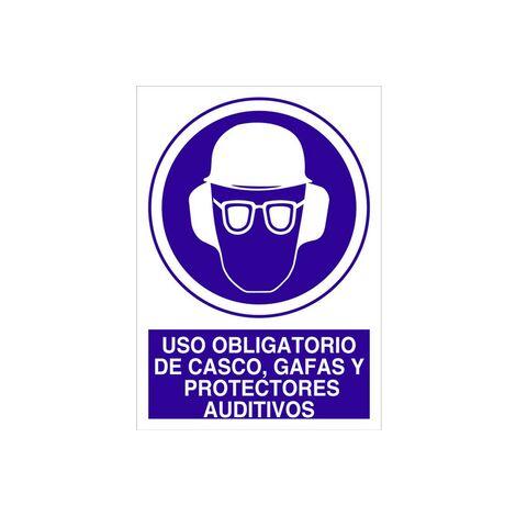 Señal obligación solo texto - Uso de casco, gafas y protect. auditivos