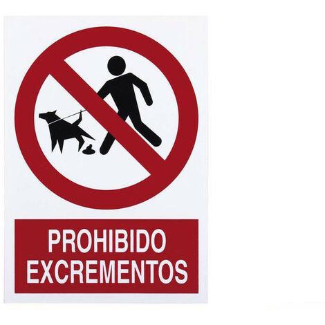 Señal prohibido pictograma y texto - Prohibido Excrementos perro