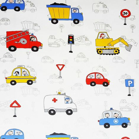 SEND J24210 - Kids Wallpaper Cars Fire Engine Police Taxi Truck Digger White Metallic Silver
