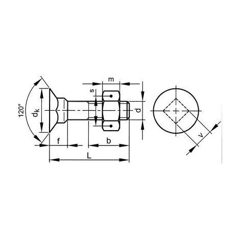 Senkkopfschrauben M8 x 40 verzinkt 4.6 DIN605/555 m Vierkant u Mutter 200 Stk