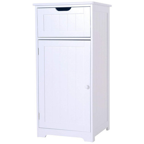 Sennen One Drawer Cabinet // White Scandinavian-inspired Storage for Bathroom, Bedroom, Living Room, Hallway