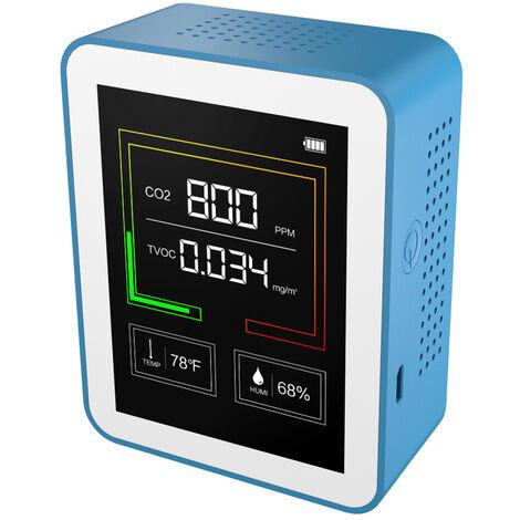 Sensor COVT Monitor de CO2 Port¨¢til Detector de Calidad del Aire de temperatura inteligente detector de aire y di¨®xido de humedad metros de Calidad del Aire del probador de carbono, multicolor