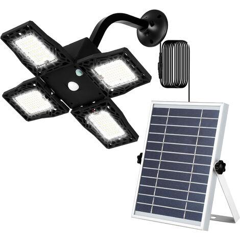 Sensor de cuatro cabezas 80 LED 3 modos de iluminacion 8000mAh apliques de luz solar al aire libre de movimiento LED recargable 110 Degreess IP65 a prueba de agua angulo ajustable, Negro
